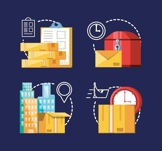 Conjunto de ícones do serviço de logística Vetor Premium