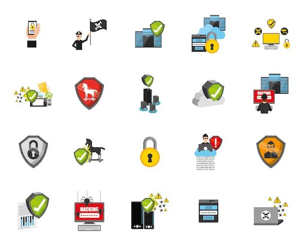 Conjunto de ícones do sistema de segurança Vetor grátis