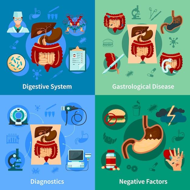 Conjunto de ícones do sistema digestivo Vetor grátis