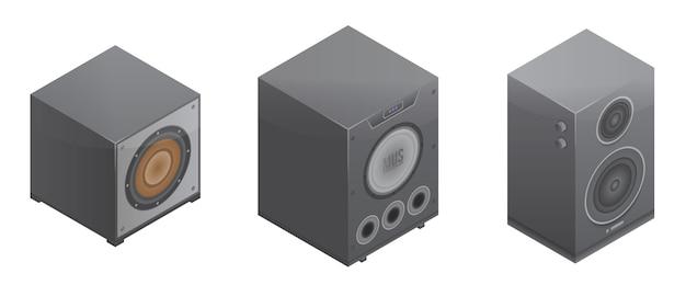 Conjunto de ícones do sistema estéreo, estilo isométrico Vetor Premium