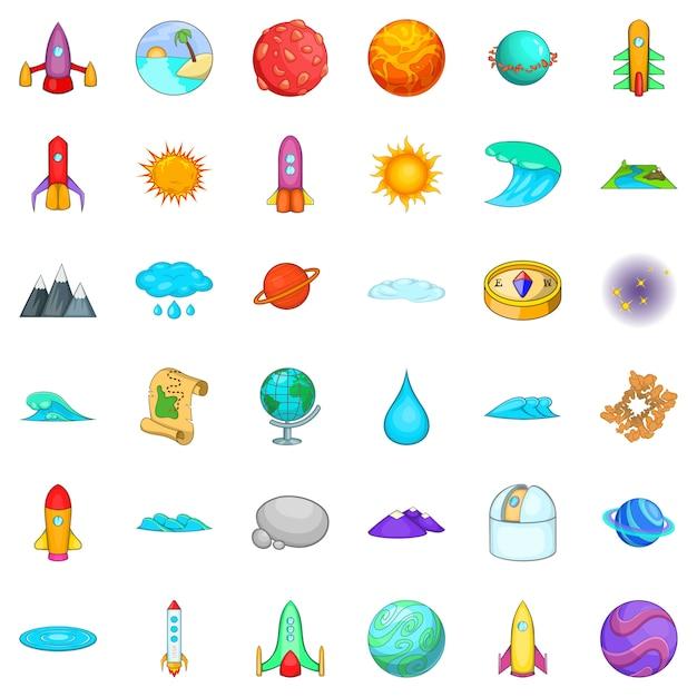 Conjunto de ícones do sistema solar, estilo cartoon Vetor Premium