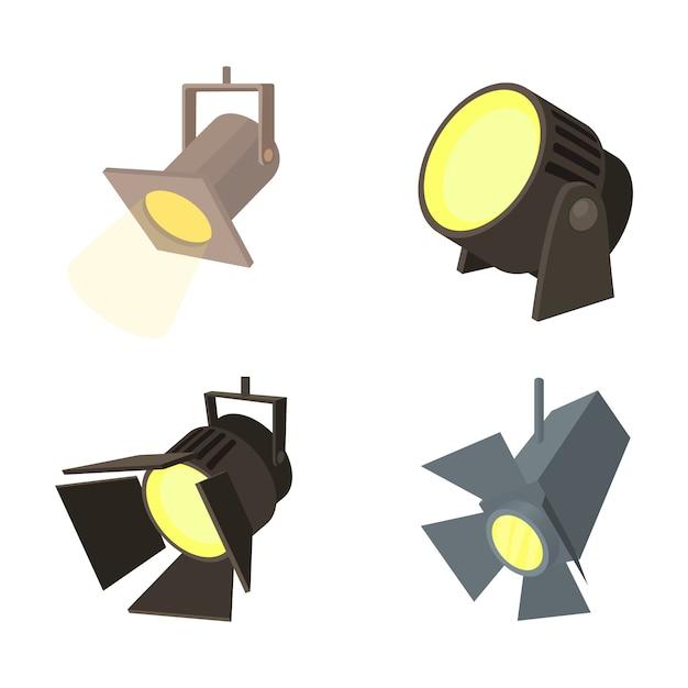 Conjunto de ícones do spotlight Vetor Premium
