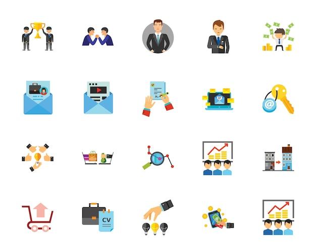 Conjunto de ícones do teambuilding Vetor Premium