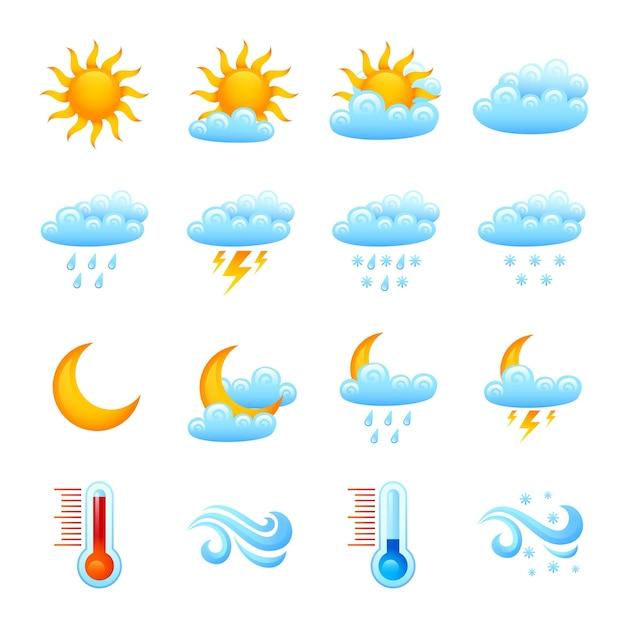 Conjunto de ícones do tempo Vetor grátis