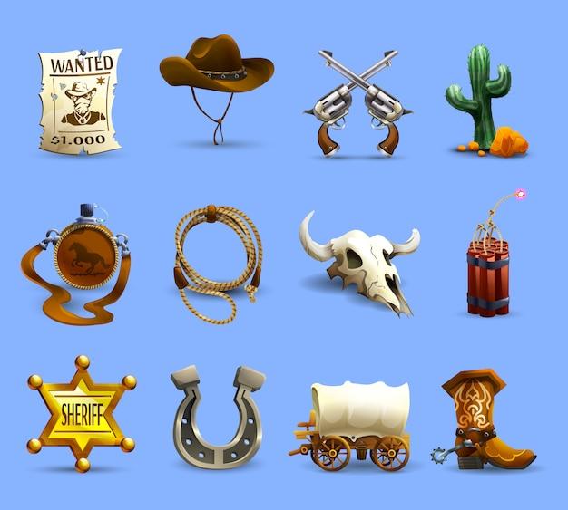 Conjunto de ícones do velho oeste Vetor grátis