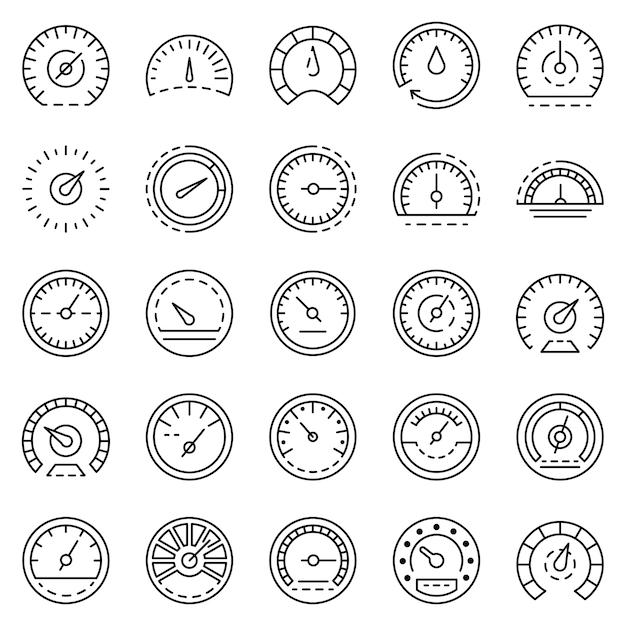 Conjunto de ícones do velocímetro. conjunto de contorno dos ícones do vetor velocímetro Vetor Premium
