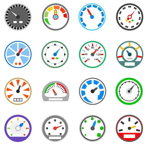 Conjunto de ícones do velocímetro Vetor Premium