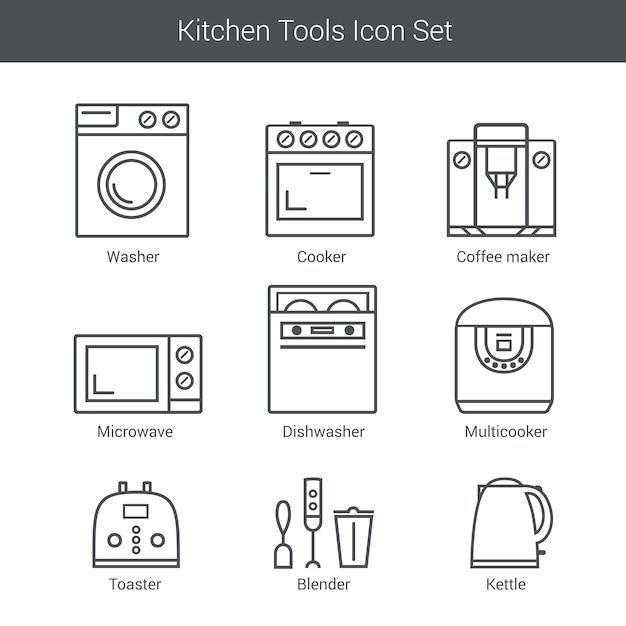 Conjunto de ícones do vetor de aparelhos domésticos: fogão, lavadora, liquidificador, torradeira, microondas, chaleira Vetor Premium