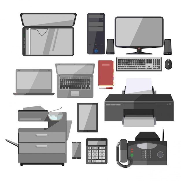 Conjunto de ícones do vetor de dispositivos de trabalho de escritório isolado Vetor Premium