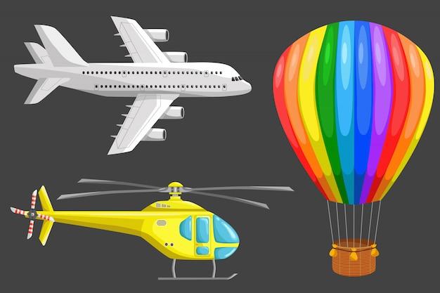 Conjunto de ícones do vetor de transporte aéreo Vetor Premium