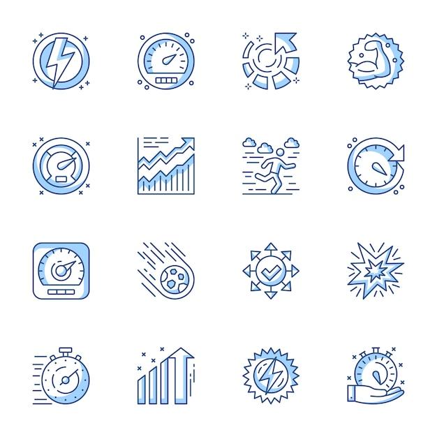Conjunto de ícones do vetor linear de gerenciamento de tempo, otimização e produtividade. Vetor Premium