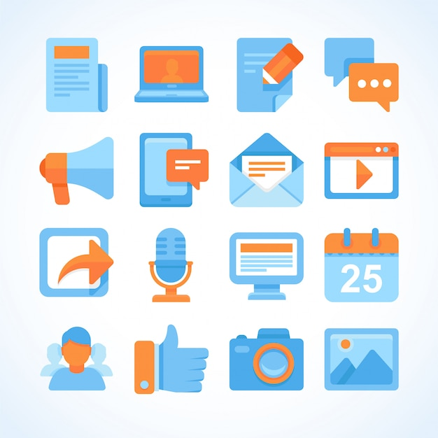 Conjunto de ícones do vetor plana de símbolos de blogging Vetor Premium