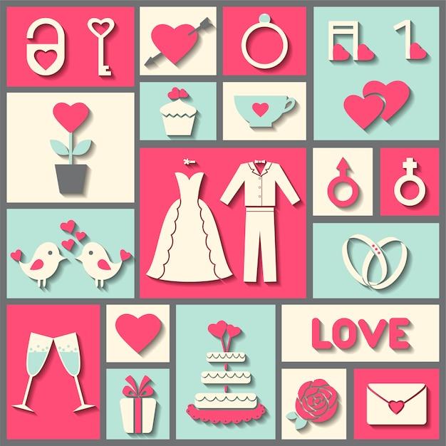 Conjunto de ícones do vetor plana para casamento ou dia dos namorados Vetor Premium