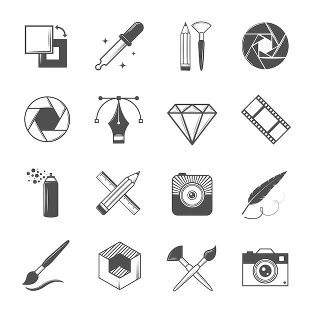 Conjunto de ícones do vetor vintage para suas etiquetas Vetor Premium