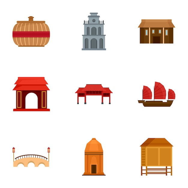 Conjunto de ícones do vietnã. conjunto plano de 9 ícones de vetor de vietnam Vetor Premium