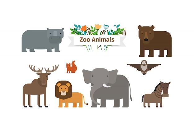 Conjunto de ícones do zoológico animais plana Vetor Premium