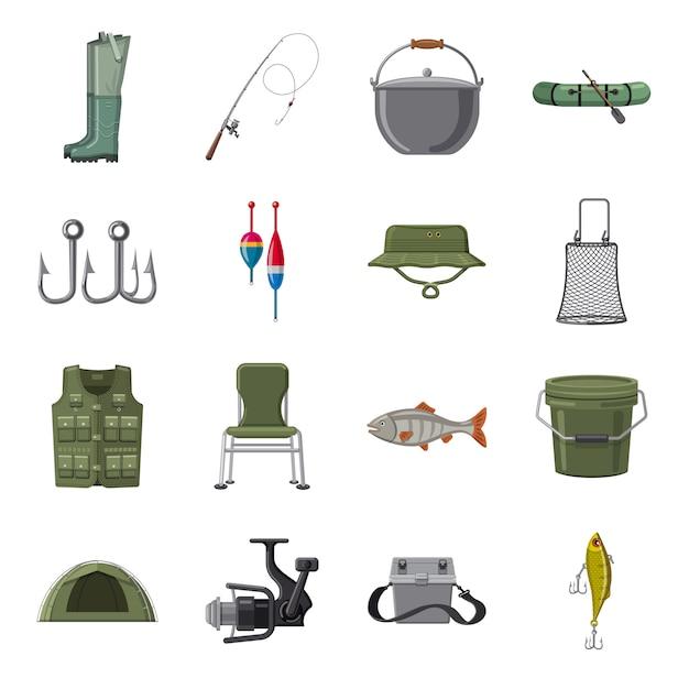 Conjunto de ícones dos desenhos animados de pesca, pesca no mar. Vetor Premium
