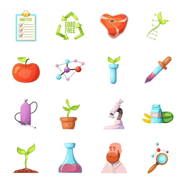 Conjunto de ícones dos desenhos animados ogm Vetor Premium