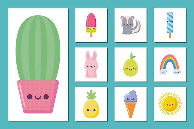 Conjunto de ícones e cacto kawaii desenhos animados Vetor Premium