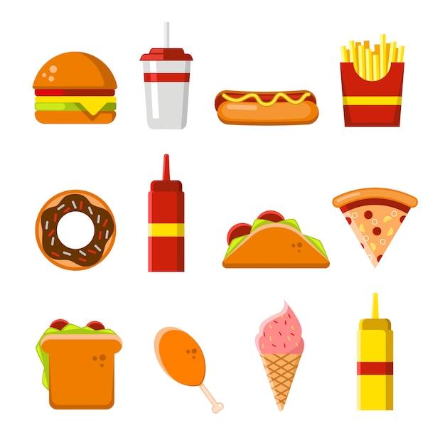 Conjunto de ícones e elementos de fast-food plana Vetor Premium