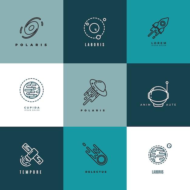 Conjunto de ícones e logotipos de vetor de astronomia do universo Vetor Premium