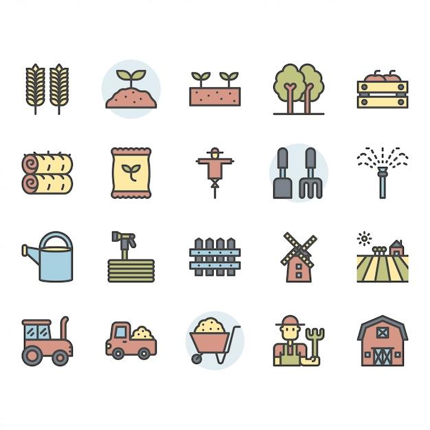 Conjunto de ícones e símbolos de agricultura e agricultura Vetor Premium