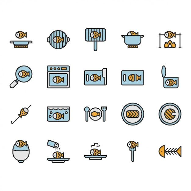 Conjunto de ícones e símbolos relacionados a culinária e comida de peixe Vetor Premium