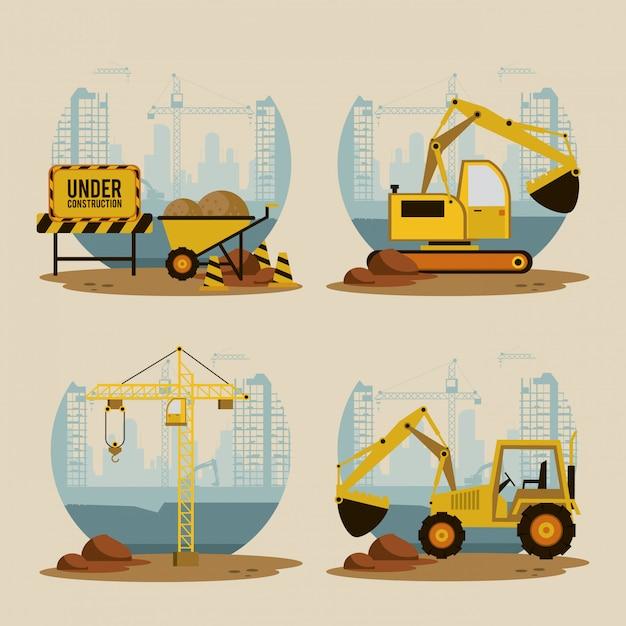Conjunto de ícones em construção Vetor Premium