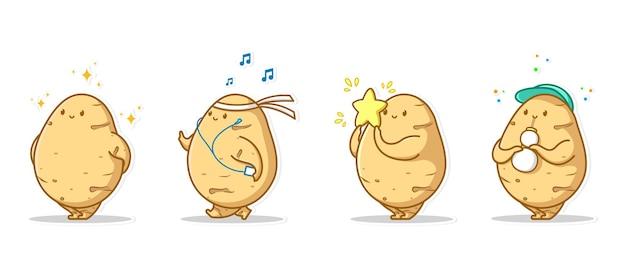 Conjunto de ícones expressivos e ícones expressivos de pacote de vegetais de batata Vetor Premium
