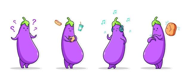 Conjunto de ícones expressivos e ícones expressivos em pacotes legumes de berinjela roxa Vetor Premium