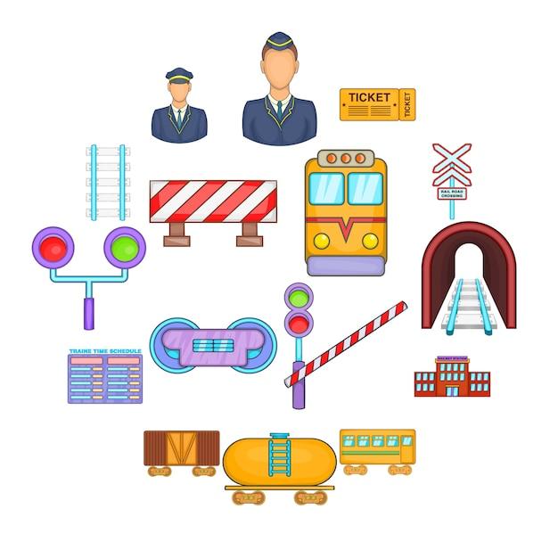 Conjunto de ícones ferroviários, estilo cartoon Vetor Premium