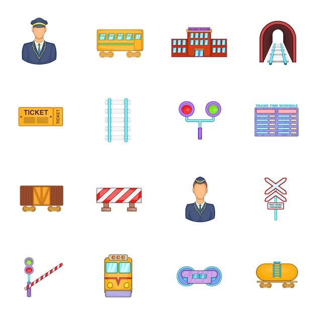 Conjunto de ícones ferroviários Vetor Premium