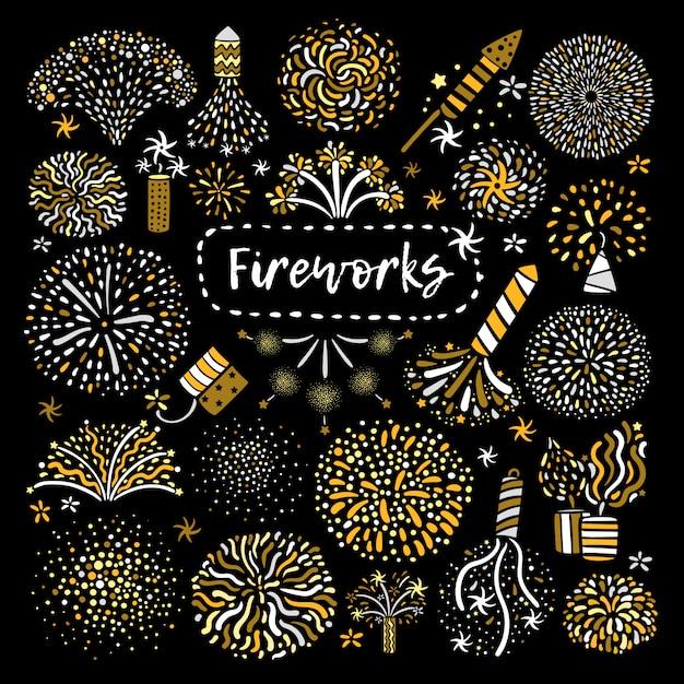 Conjunto de ícones festivo dourado de fogo de artifício Vetor grátis