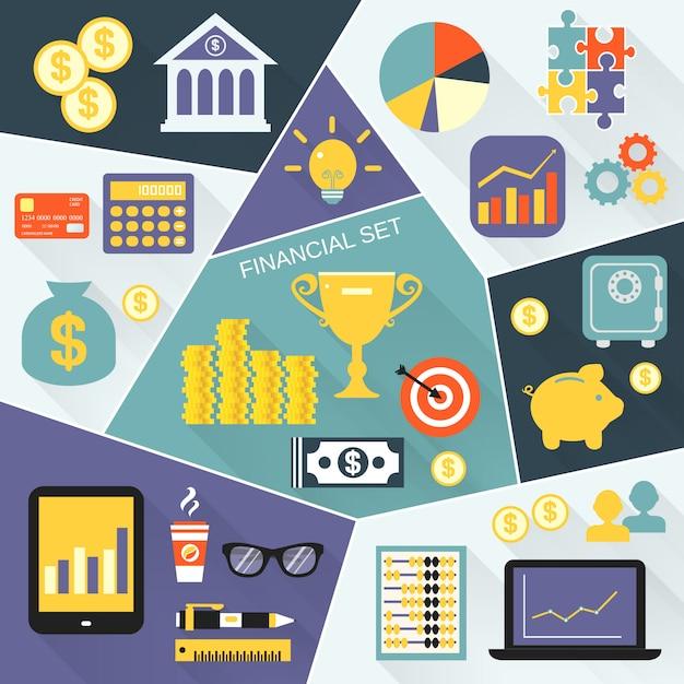 Conjunto de ícones financeiros plana Vetor grátis