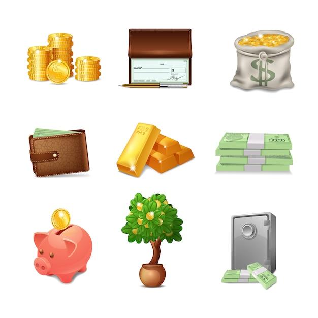 Conjunto de ícones financeiros Vetor grátis