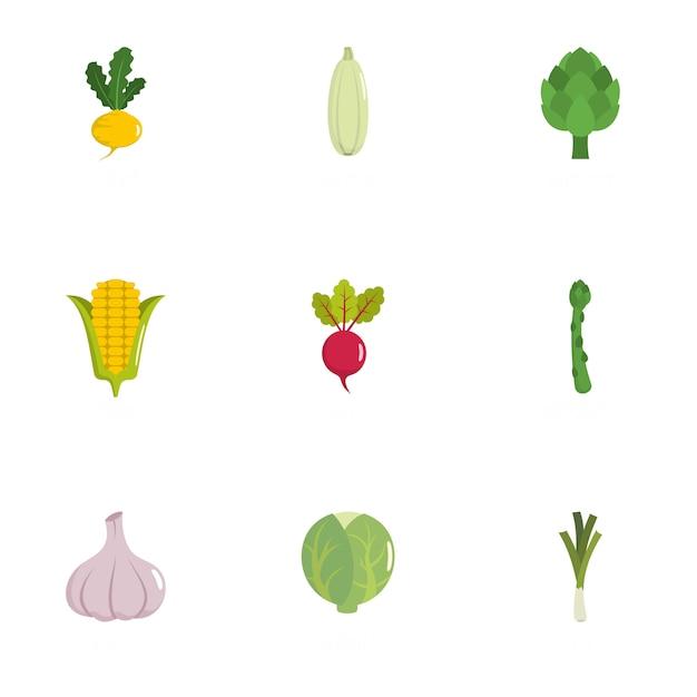 Conjunto de ícones florais, estilo simples Vetor Premium