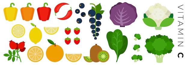 Conjunto de ícones frutas e vegetais isolado no branco Vetor Premium