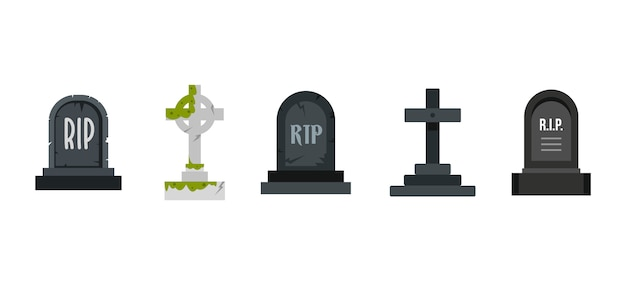 Conjunto de ícones graves. conjunto plano de coleção de ícones graves vector isolado Vetor Premium