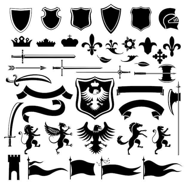 Conjunto de ícones heráldicos pretos Vetor Premium