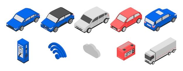 Conjunto de ícones híbridos, estilo isométrico Vetor Premium
