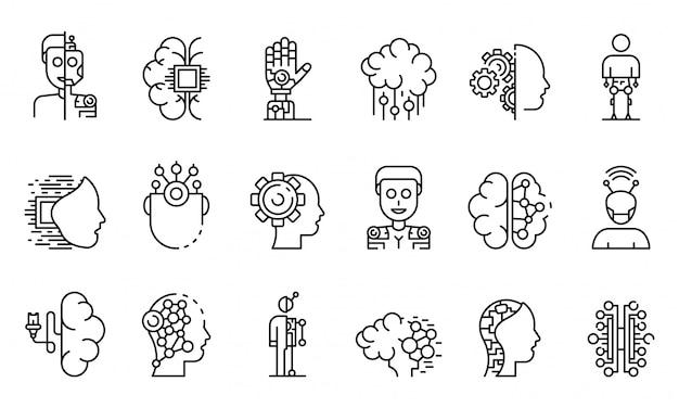 Conjunto de ícones humanóides, estilo de estrutura de tópicos Vetor Premium