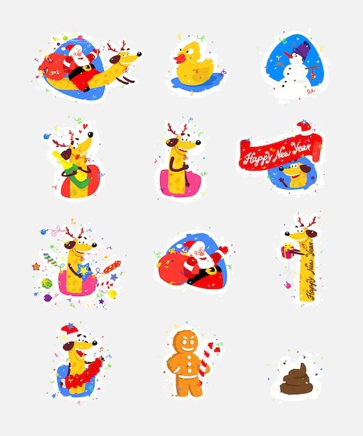Conjunto de ícones, ilustrações para o ano novo, natal. vetor. Vetor Premium