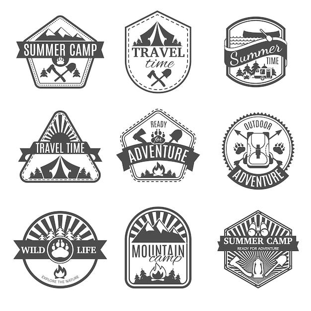 Conjunto de ícones isolados de campismo Vetor grátis