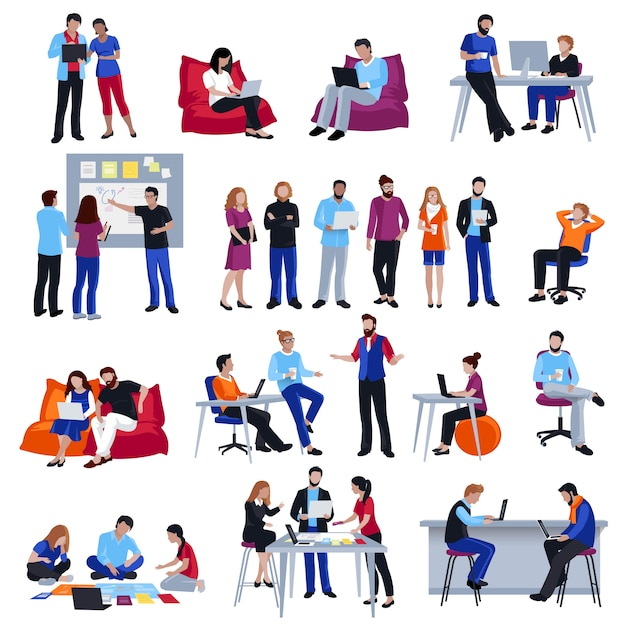 Conjunto de ícones isolados de coworking pessoas Vetor grátis