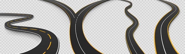 Conjunto de ícones isolados de estrada, estrada sinuosa e bifurcação Vetor grátis