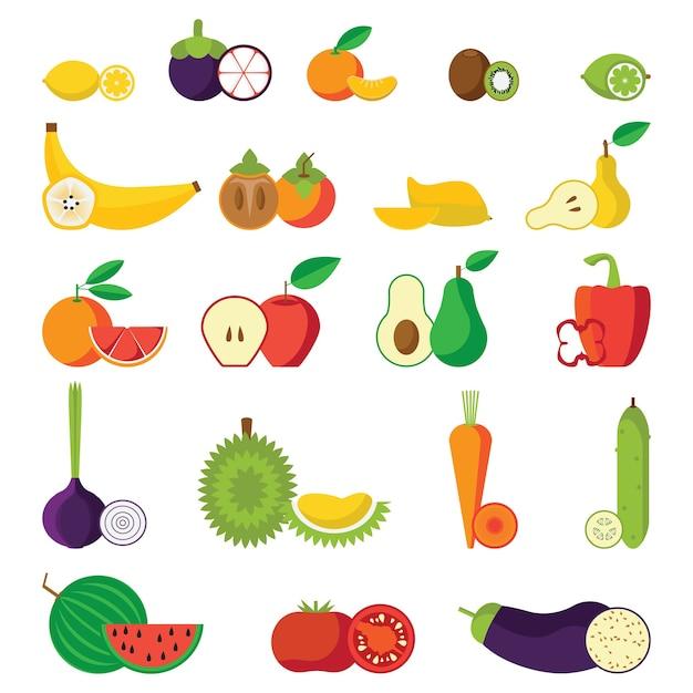 Conjunto de ícones isolados de frutas e vegetais Vetor Premium