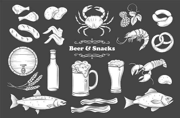 Conjunto de ícones isolados de glifo de cerveja e lanche. branco em preto ilustração para rótulo de loja de pub. Vetor Premium