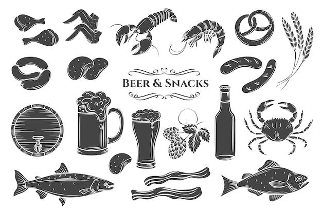 Conjunto de ícones isolados de glifo de cerveja e lanche. ilustração em preto e branco para etiqueta de loja de pub Vetor Premium