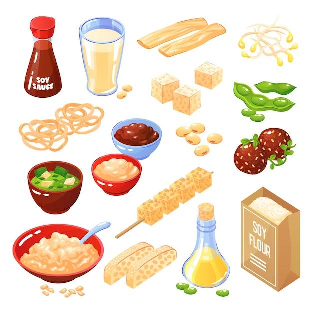 Conjunto de ícones isolados de produtos de soja de almôndegas de queijo macarrão farinha leite molho de óleo Vetor grátis