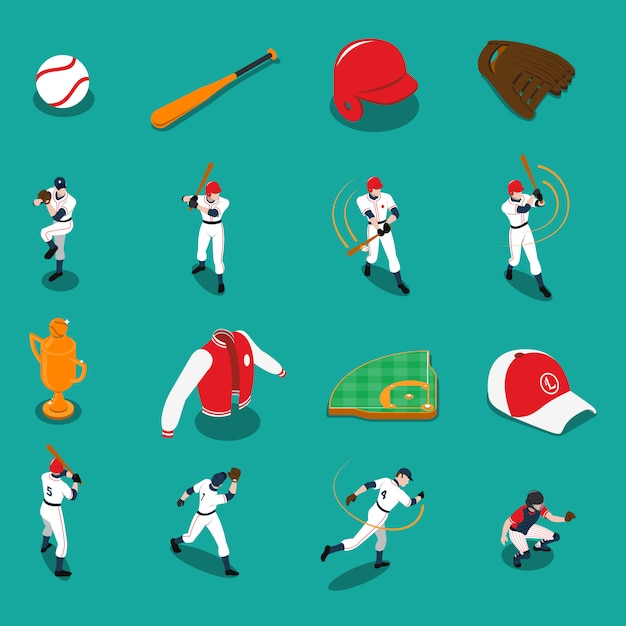 Conjunto de ícones isométrica de beisebol Vetor grátis